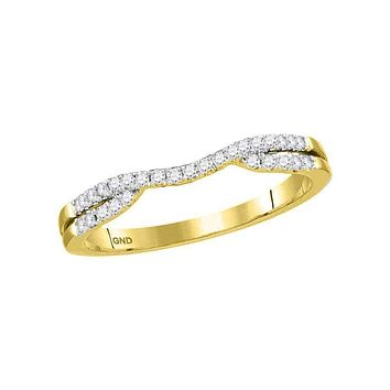 14kt Yellow Gold Women's Round Diamond Contour Enhancer Wedding Band Ring 1/6 Cttw - FREE Shipping (US/CAN)