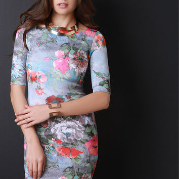 Square Neckline Floral Print Body Con Dress