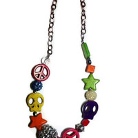 On Sale long colorful  peace sign & skull hippie necklace Clearance