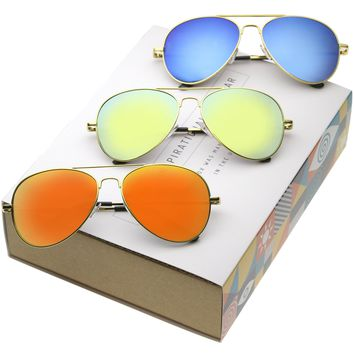 Retro Full Gold Frame With Mirrored Lens Sunglasses 1486 [3 Pack]