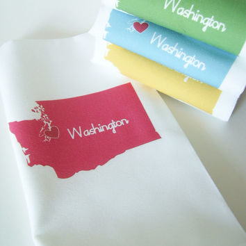 I Love Washington  Napkins in Pop Color Set by nicoleporterdesign