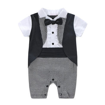 Baby Boy Formal Party Christening Wedding Tuxedo Waistcoat Bow Tie Suit Jan18