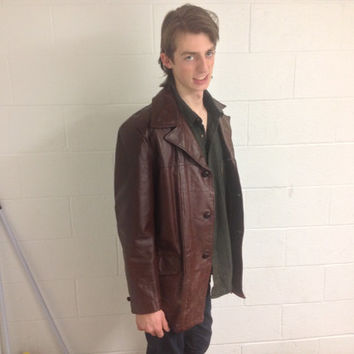 Vintage 1970s Mens Brown Leather Jacket Sears Leather Shop Car Coat Mns size 42 Large, faux fur lined