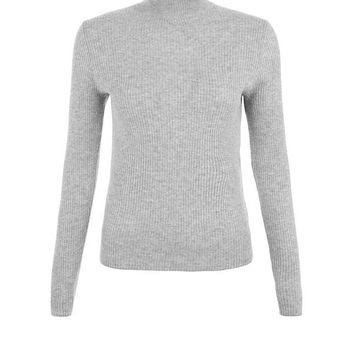 Pale Grey Frill Trim Funnel Neck Top