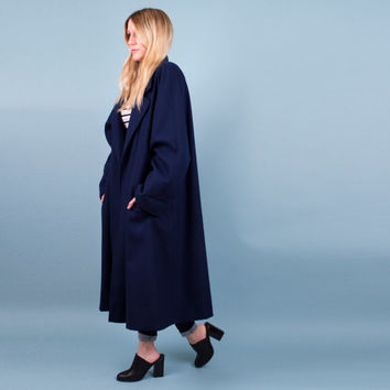 Vintage 80s navy blue swing coat / minimalist winter coat jacket / longline duster