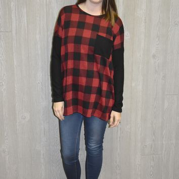 On Fire Buffalo Plaid Sweater