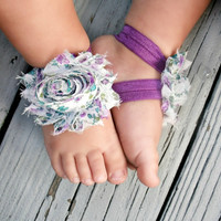 Baby Barefoot Sandals..Purple Floral Flower..Toddler Sandals..Newborn Sandals