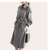 Spring And Autumn Ladies Fashion Period Trench Woman's Trench Coat Fashionable Coat Medium Long Coat