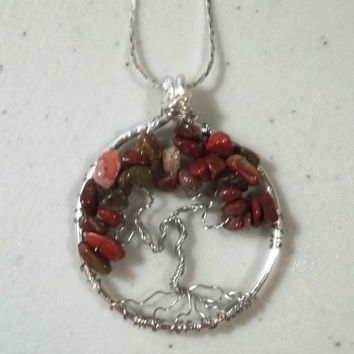 Jasper Gemstone Tree of Life Necklace