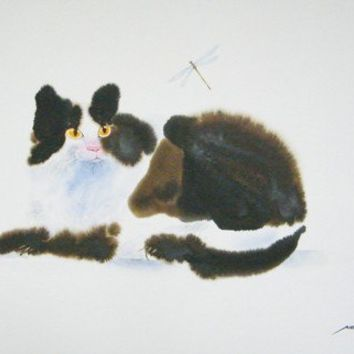 Cat And Dragonfly Original Watercolor Painting