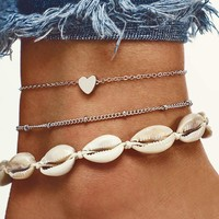 Seashell Design Anklet Set 3pcs