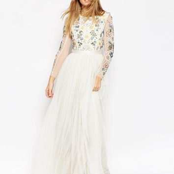 Needle & Thread | Needle & Thread Backless Sheer Sleeve Tulle Embellished Maxi Dress at ASOS