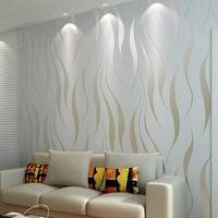 Grey 3D Abstract Silver Striped Wallpaper Roll Modern 3D Embossed Pattern Wall Paper For Bedroom Living Room Home Decor Beige