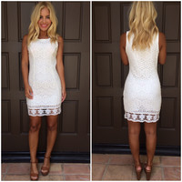 Weak In The Knees Crochet Shift Dress - WHITE