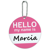 Marcia Hello My Name Is Round ID Card Luggage Tag