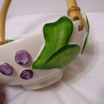 Brunswick Pottery,  Round Dish, Bamboo Handle,  Ivy Leaves and Grapes, Earthenware, Ivory Purple Green, Candy Dish, Fruit Dish, Home Decor
