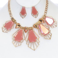 Faceted Mirror Finish Stone Earrings & Necklace Set