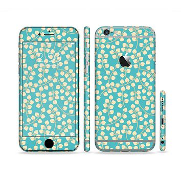 The Blue and Yellow Floral Pattern V43 Sectioned Skin Series for the Apple iPhone 6 Plus