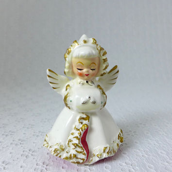 Holt Howard Angel Figurine, Vintage 1964, Taper Candle Holder, Porcelain Angel Figure, White Gold Red, Mid Century Christmas Decor