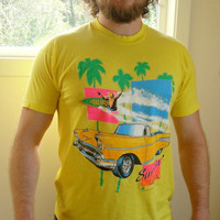 25% Sale 80's Yellow Surfin' USA Graphic Tshirt. California Surfing Tee. Beach. Neon. Unisex. Large L