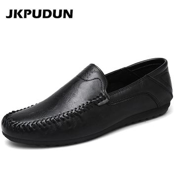 JKPUDUN Fashion Man Penny Loafers Driving Shoes Casual Leather 2017 Summer Designer Male Flats Lazy Boat Shoes For Men Moccasins