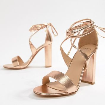 d5a576767114 True Decadence Rose Gold Ankle Tie Block Heeled Sandals at asos.
