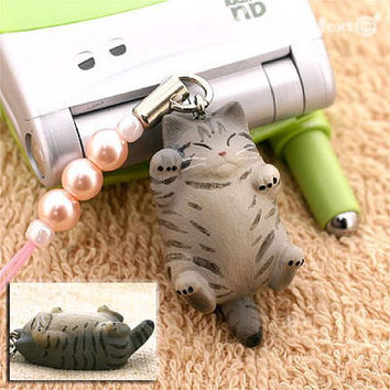 Pet Lovers Rare Hand-Made Cat Beads Cell Phone Jewelry Strap and Charm  Big Cat 7- 123-N-2307