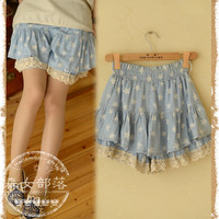 Casual stars Shorts skirts Ruffles Low Waiat Elastice Waist Lace Straight Denim Spliced Japanese Mori Girl