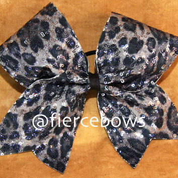 Squiggle Sequin Cheetah Cheer Bow