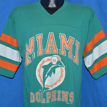 80s Miami Dolphins Logo 7 Striped Jersey t-shirt Large