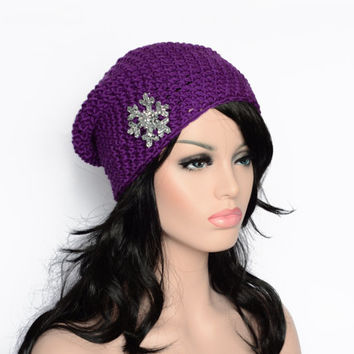 Plum - Slouchy Hats - Super Soft Knitted Hat - Purple Accessories - Women Fashion Trends - Hand Knitted Gifts - Super Soft - Cotton