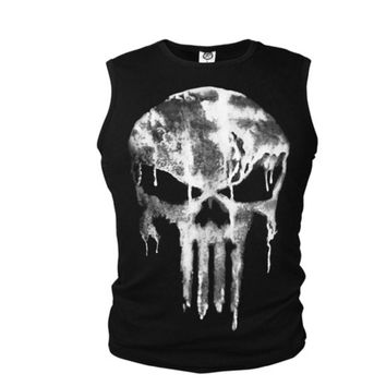SzBlaZe Brand New Mens Cotton Vest Punisher Sleeveless Singlet Halloween Skull Print Tank Top Summer Slim Design Fashion Tops