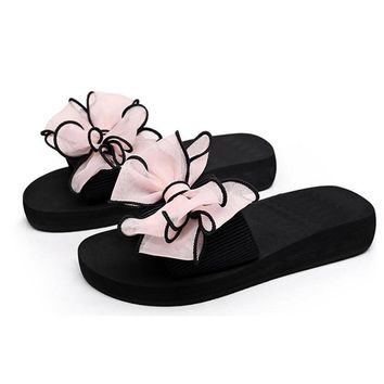 2017 Bow Thong Jelly Shoes Woman Jelly Flip Flops Women Sandals Ladies Flat Slippers Z