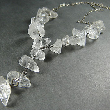 Mirage Rock Crystal Quartz Necklace with Drop in Sterling Silver