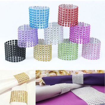 10Pcs Rhinestone Napkins Rings Bow Covers Cup Chair Covers Wedding Party Supply