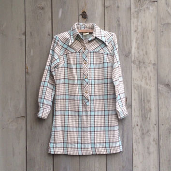 Vintage dress | Mod plaid A-line shift