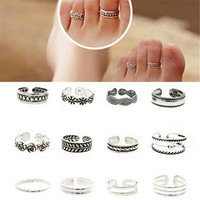 12Pcs Sliver Plated Flower Adjustable Opening Toe Rings For Women