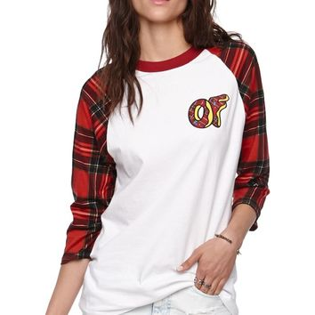 ODD FUTURE Plaid Raglan Sleeve T-Shirt - Womens Tee - Red -
