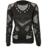 Womens GOTHIC ROCK Mesh Holes Grunge Top Black Shop Online From Spiral Direct, Gothic Clothing, UK