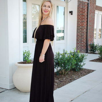 Off the Shoulder Getaway Maxi- Black