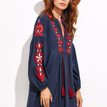 Embroidered Tassel Detail Smock Dress