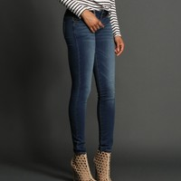 Sale-denim 2-button Knit Skinny Jeans