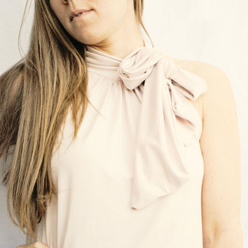 Womens Clothing Bow Scarf Top Knit in Pale Pink by FineThreadz