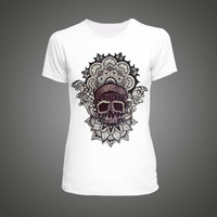 women T-shirt Skull Mandala series tshirt Short Sleeve O Neck Tops Tees Fashion T shirt women luxury
