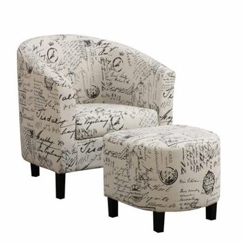 French Script Accent Chair and Ottoman
