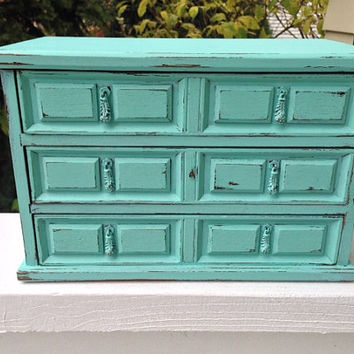 vintage jewelry armoire box, shabby chic aqua/Tiffany blue, large