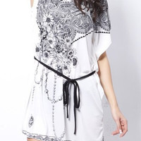 White Printed Short Sleeve Drawstring Dress