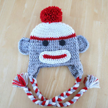 Sock monkey hat, child sock monkey hat, crochet monkey hat adult, red cream and gray, 5t to Adult sizes available