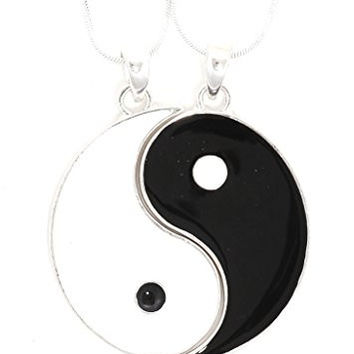 Yin Yang Medal Necklace 2 PC Set Silver Tone Black White Tao Pendant NT32 Fashion Jewelry