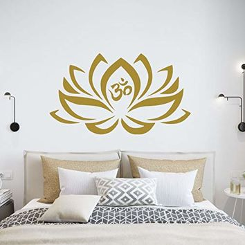 Lotus Flower Wall Decals Mehndi Vinyl Sticker Namaste Mandala Decal Yoga Studio Decor Bohemian Boho Meditation Bedroom NV255
